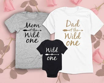 Mom Dad of the Wild One Shirts. Set of 3. Newborn Boy Girl Outfit. Matching Shirts. Mommy Daddy Baby Gifts, Bodysuit, Onesie, Family.