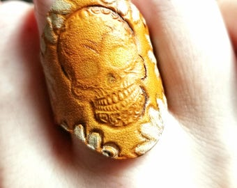 Sweet.Sugarskull.Leather.Ring