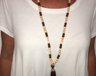 Big Tassel Necklace--Brown