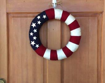 Patriotic Yarn Wreath