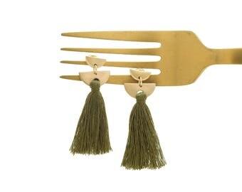 Tassel Earrings, Threaded Tassel Earrings, Olive Green Tassel Earrings, Geometric Earrings, Gold Earrings, Statement Earrings