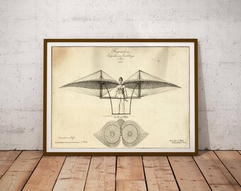 Technical drawing of flying machine / Technical illustration / Engineering Drawings / Vintage technical drawing / Technical print /