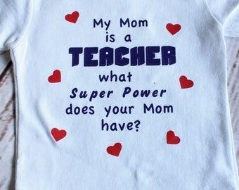 My Mom's a teacher; fun kids tees, teacher kid tees, gift tees