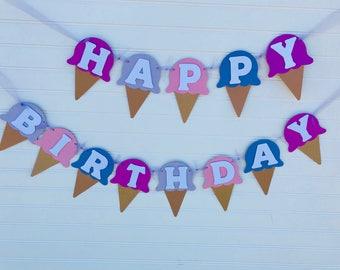 Ice Cream Themed Happy Birthday Banne, Ice Cream Cones, Happy Birthday Banner
