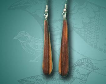 Long, Modern Cedar Wood Tear Drop Dangle Earrings