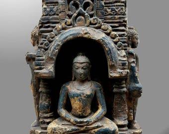 3 side BUDDHA Stupa black Stone 10th century Pala period style ANTIQUE STATUE.