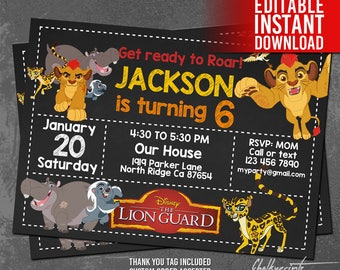 Lion Guard Invitation Instant Download, Lion Guard Birthday Invitation, Lion Guard Invites, Lion Guard Thank You Tags, Editable PDF Template