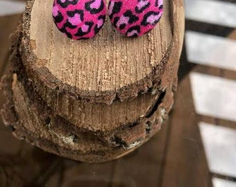 Pink Leopard Button Fabric Earrings