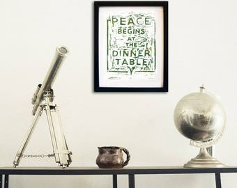 """Original Lino Print, """"Peace Begins at the Dinner Table"""", Handmade, Limited Edition Artwork"""