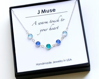 Birthstone Necklace for Mom Grandma Wife Birthday gifts for her Family Birthstone necklace custom birthstone Meaningful gift Anniversary