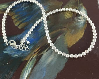 Plain Sterling Silver Small Ball Necklace