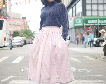 Pink Gathered Skirt with Pockets