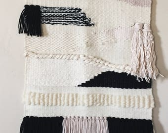 Woven Wall Hanging   Pink, Black, and Cream
