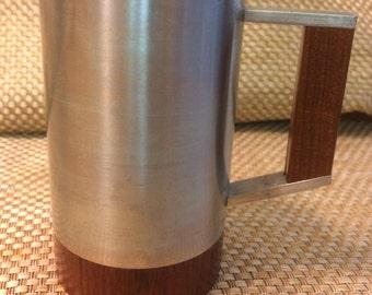 Vintage pewter and teak mug