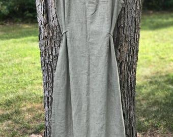sleeveless linen midi dress