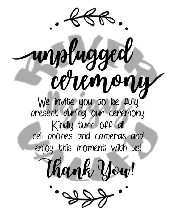 Debenhams Wedding Service Gift List Number: Unplugged Ceremony Sign Wedding Sign Vinyl Design Pdf