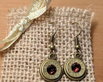Antique Bronze Bullet Dangle Earrings w/ Burgundy Swarovski Crystals