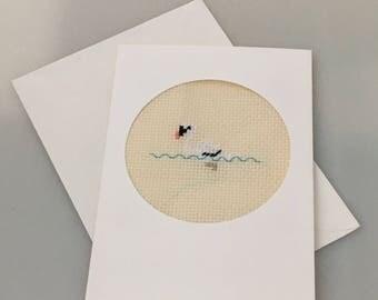 Cross stitch swan card