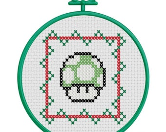 1 UP Christmas Ornament Counted Cross Stitch PATTERN / Super Mario 1Up Cross Stitch / Green Mushroom Christmas Ornament Cross Stitch Pattern