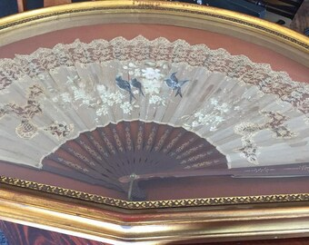 Antique 1900's Lace and Painted Silk & Teak Hand Fan in Gold Gilded Shadow Box Frame