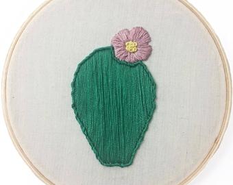 "5"" Hand Embroidered Hoop - Flowering Cactus"