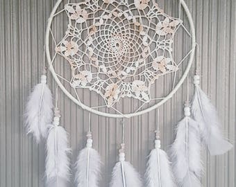 Medium White & Pink Crochet Doily Dreamcatcher 22.5x50cm