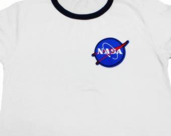 NASA Iron on Patch,NASA Badger,Round Iron on Patch.
