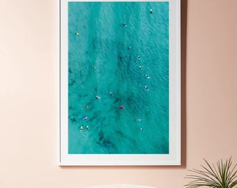 Aerial Photography, Ocean Wall Art, Aerial Beach Print, Printable poster, Kayak Art, Turquoise wall art, Modern Prints, Ocean decor