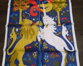 100% Linen Made in Ireland, Lion and Unicorn by Ulster, Tea Towel