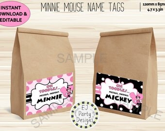 Instant Download Editable Pink Minnie Mouse Party Name Tags (bag/box/bucket)