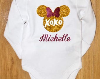 Girls bodysuit, Minnie Mouse xoxo bodysuit, Personalized Valentines top, First Valentines Day, Name Onesie,XOXO Minnie Mouse Hot Pink & Gold