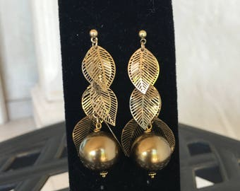 Bronze Pearls with Gold Leafs Earrings by Dobka