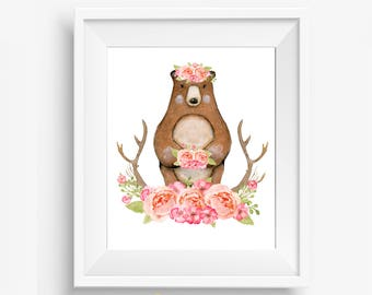 Woodland Nursery Decor, Floral Bear, Bear Nursery, Girl Woodland Animals, Woodland Nursery Creatures, Rustic Nursery, Nursery Antlers, Peach