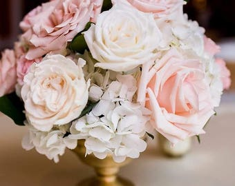 Blush and ivory rose and hydrangea wedding centerpiece.
