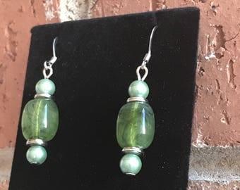 Swirly Green Bead Earrings, Silver Toned Findings