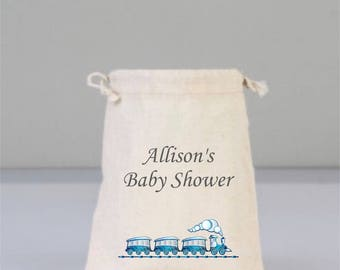 Personalized  Baby Shower Blue Train Pouch, Baby Shower Decorations, Baby Shower Party, Boy Baby Shower, Cotton Bag Drawstring
