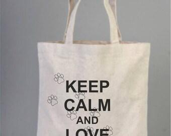Daily Cotton Bag, Canvas Bag, Natural Bag, Party Bag, Tote Bag, Keep Calm and Love Cats, Cat Paw Bag