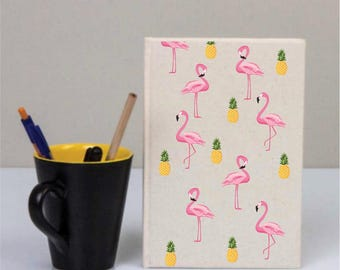 Cotton Covered Notebook, Flamingo Notebook, Flamingos, Birthday Gifts, Custom Notebook, Personalized Gifts, School Gifts, Diary