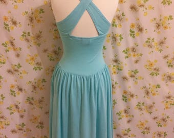 Vintage 1980s Mint Green Dress