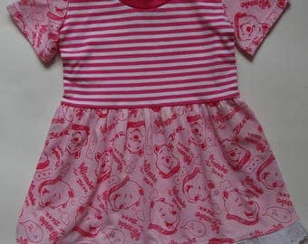 Handmade Girls Pink Winnie The Bear Jersey Dress Age 2-3 Years