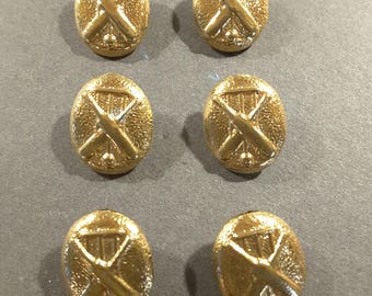 6 x 1920's vintage sports cricket buttons.