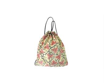 Yellow with Red & Indigo Vines Kantha Drawstring Backpack