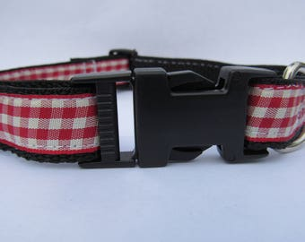 Classic Red gingham | dog collar
