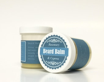 Beard Grooming at its BEST: 2 oz. Rosemary & Cypress Beard Balm - Condition and Groom Beard, Revitalize Skin, Look Your Best to Impress!