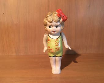 Adorable Rare Antique All Bisque FROZEN CHARLOTTE KEWPIE Doll with articulated arms