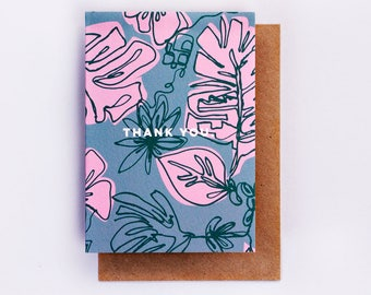 Thank You Botanic Print Card, Illustration, Fashion Stationery, Fashion Card, Cool Card, Pink, Thanks, Fashion Gift