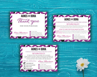 Agnes and Dora Care Instruction Care - Agnes and Dora thank you care, Agnes Dora Custom card, Agnes Dora Marketing Printable Card