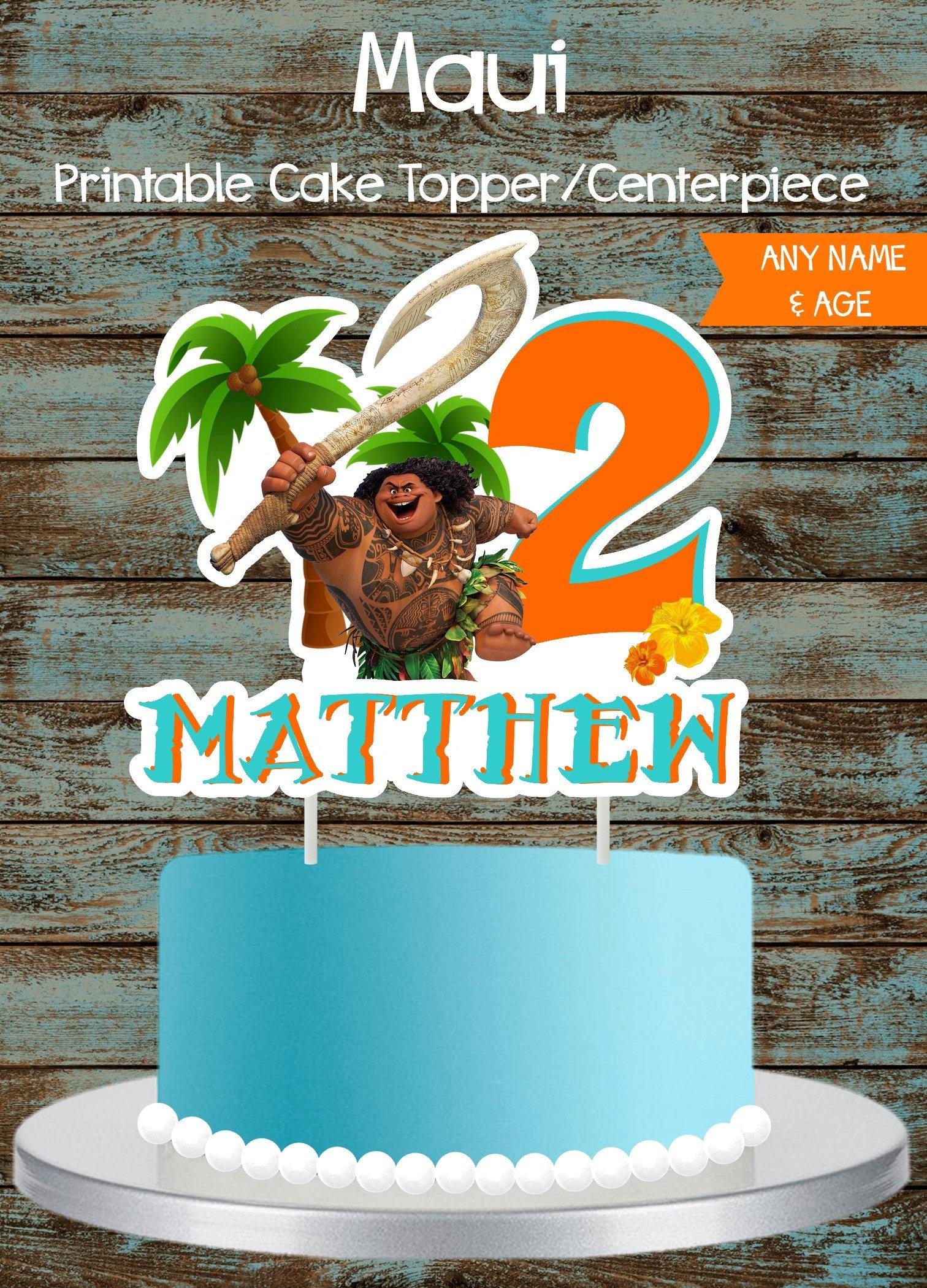 Maui Cake Topper Moana Maui Cake Topper Printable Maui - Maui birthday cakes