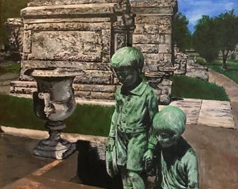 "Original painting: ""The Grieving Children of Metairie Cemetery,"" New Orleans, 2017"