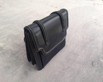Vintage Original 1950s Black Leather Handbag